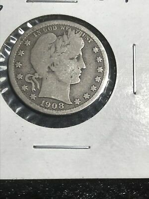1908-D United States SILVER Barber Head Quarter Exact Coin Pictured Free S/H