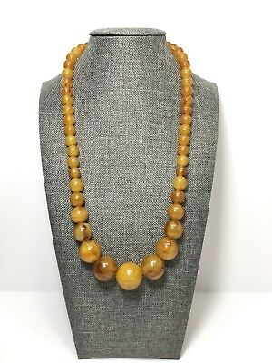 Vintage Necklace Egg Yolk Color Celluloid Plastic Round Graduated Beads