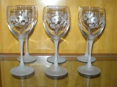 6 Avon Hummingbird Water Goblets Etched Frosted Stem Grey Floral