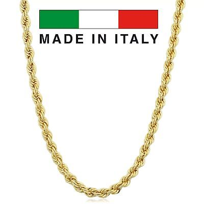 """Solid 14K Gold Rope Chain MADE IN ITALY 16"""" 20"""" 22"""" 24"""" 26"""" 28"""" 2-4mm UNISEX"""