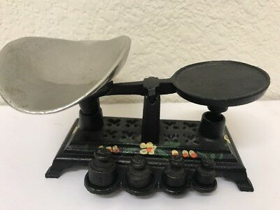 Vintage Cast Iron Miniature CANDY SCALE with weights COMPLETE. Very Nice.