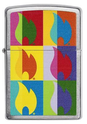 Zippo Windproof Chrome Lighter With Abstract Flame Design, 29623, New In box