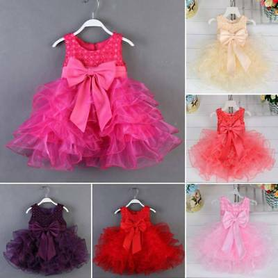 Newborn Flower Pageant Princess Dress Baby Girl Wedding Party Tutu Dress 0-18M
