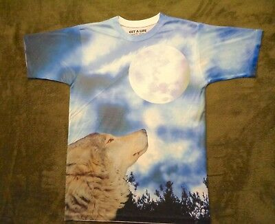T~shirt S Small GET A LIFE polyester WOLF HOWLING moon CANINE trees SKY print