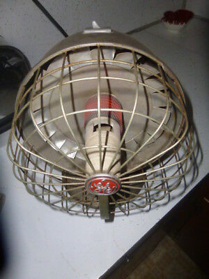 """GE 50s Mid Century space age 9"""" dia dish Radiant Electric Heater Works with fan"""