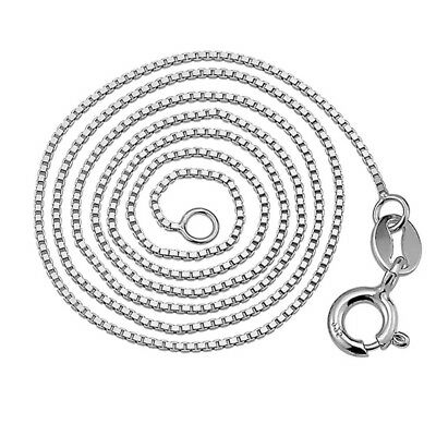 Italian 925 Sterling Silver TARNISH-FREE RHODIUM PLATED  1 mm Box Chain Necklace