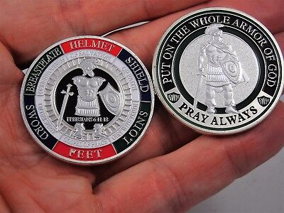 "Armor of God ""Pray Always"" Military Challenge coin Collectible Ephesians 6:11-18"