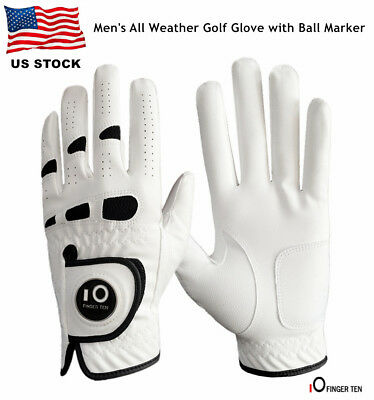 Golf Gloves Left Hand Ball Marker Mens Weathersof Leather Soft Fit Large XL ML M