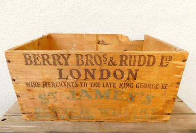 Vintage Berry Bros. & Rudd wooden crate Scotch Whiskey ST JAMES'S