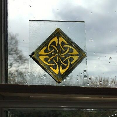 Stained Glass x Traditional kiln fired hand painted fragment, celtic design