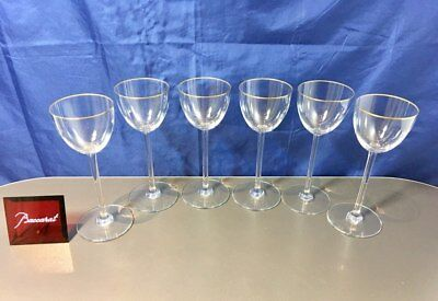 Baccarat Crystal Perfection Fillet Or set 6 Wine Glasses - Calici Vino NEW