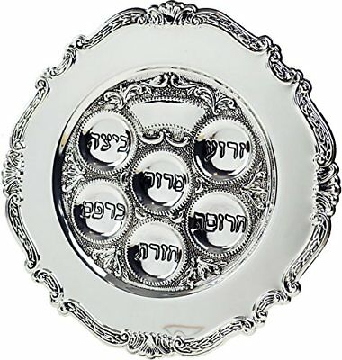 """A gift for Pesach holiday Traditional Silver Passover Seder Plate 12"""""""