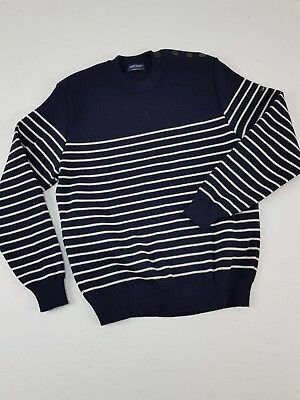 SAINT JAMES Maglione Marinaro Vela Made in France Righe Blu Panna Taglia M
