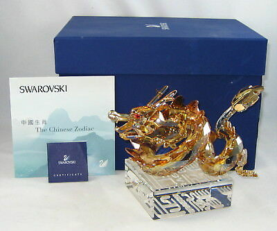 "Swarovski Crystal CHINESE ZODIAC Figurine ""LARGE GOLDEN DRAGON"" w/Box & COA"