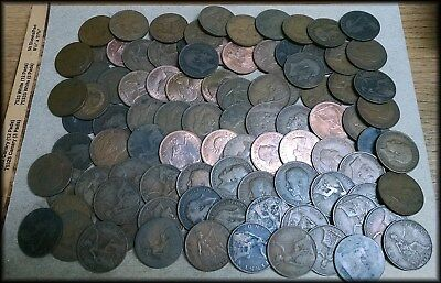 Ninety-Three Great Britain Large Pennies Penny Lot