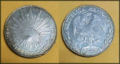1863 Mexico 8 Reales Silver Crown Nice UNC w/Chopmark