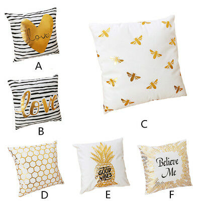 2018 New Soft Pure Bronzing Gold Printing Plush flannel Love Pillowcases Bedding