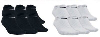 Nike Performance Cotton Cushioned No Show Socks Mens Black White Large 8-12