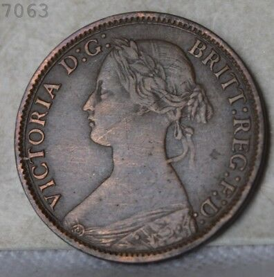 """1866 Great Britain 1 Farthing """"XF"""" *Free S/H After 1st Item*"""
