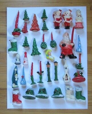 Vintage Lot of 34 Christmas Gurley Woolworth Candles Church Bells Baby Jesus