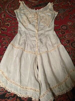 Antique 1910s 1920s Edwardian Blue Silk &Lace Teddy Romper Play Suit Lingerie