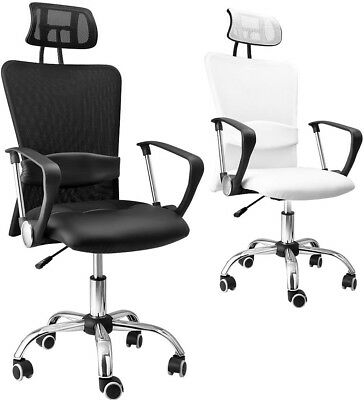 Office Desk Chair Swivel White Net Computer Executive PU Leather Furniture PC