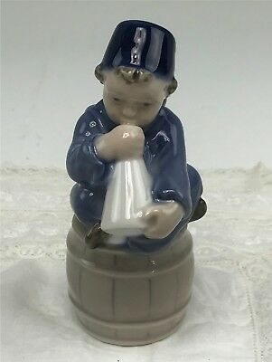 Charming Little Royal Copenhagen Figurine #3689, Boy With Horn