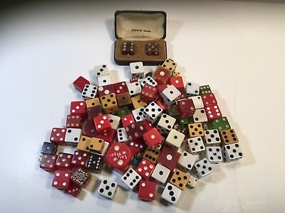 100 Vintage game DICE casino tiny large bakelite wood boxed set green red LOT