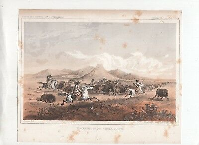 LITHOGRAPH,BLACKFEET INDIANS HUNTING BUFFALO AT THREE BUTTES,1850s Print,Western