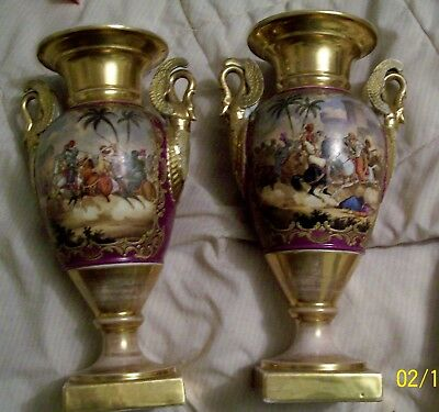old paris porcelain swan handled vases with hand painted battle scenes
