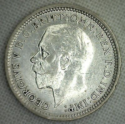 1926 Silver 3 Pence Great Britain UK Coin XF Cleaned Coin
