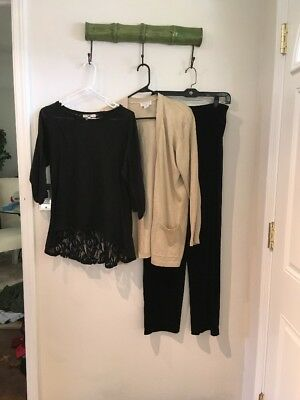 Womens Lot Of 3  Size 10 Black Pants, M Top & Gold Sweater M Doncaster