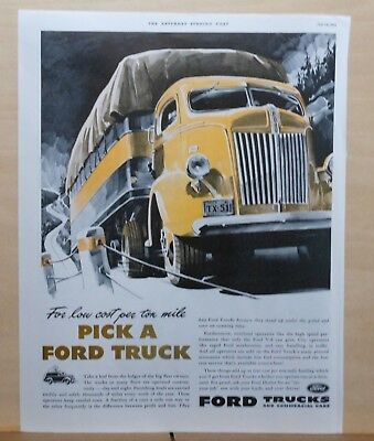 1941  magazine ad for Ford Trucks - For Low Cost per ton mile Pick a Ford