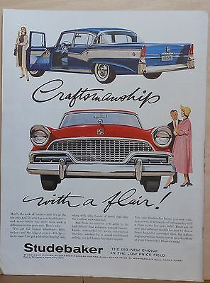 1956 magazine ad for Studebaker - Craftsmanship With A Flair! colorful cars