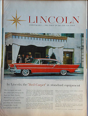 Vintage 1957 magazine ad for Lincoln - Premier Landau at Carlyle Hotel NYC