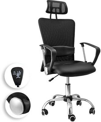 Black Executive Office Desk Chair Computer PC Swivel Chrome Seat PU Leather Mesh