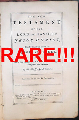 "1762 Antique 1St-Ed Rare 16"" Folio Revised Standard King James Bible 1611-1769"