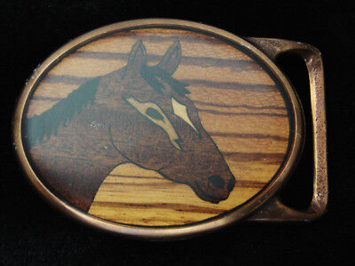 QE05171 *NOS* VINTAGE 1970s **HORSE** INLAID WOOD ART SOLID BRASS BELT BUCKLE
