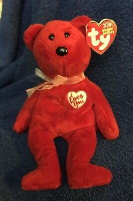 Ty Beanie Babies 2003 Secret Red 10th Anniversary Bear Tag Bent Worn