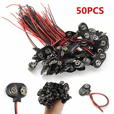 50Pcs 9V Battery Connector Snap Clip T Style Cable Wire Lead Holder Adapter