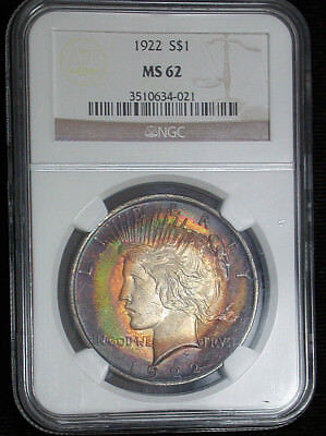 Wild and Crazy 1922 NGC MS62 Deeply Colorful Target Toned Peace Dollar (db1412)