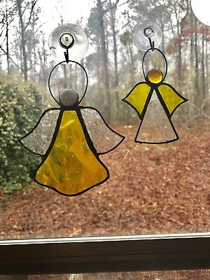 Stained Glass Yellow Angel Suncatcher