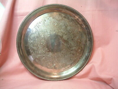 """International Silver Co. Silverplated 12"""" Round Serving Tray Etched Motif"""