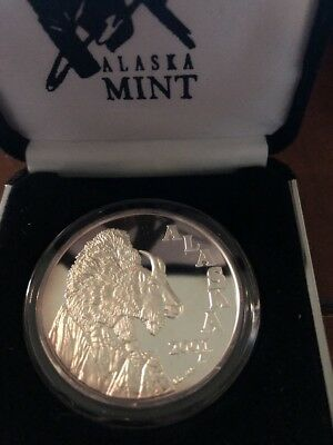 2001 Alaska Mint Mountain Goat 1 Oz Silver Coin Medal