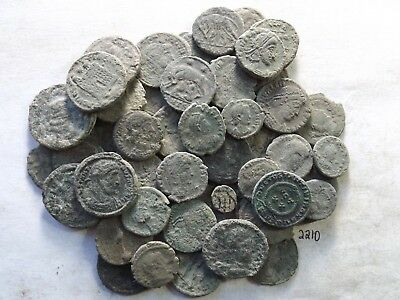 Lot of 50 Lower Quality Uncleaned Ancient Roman Coins; 114.1 Grams!