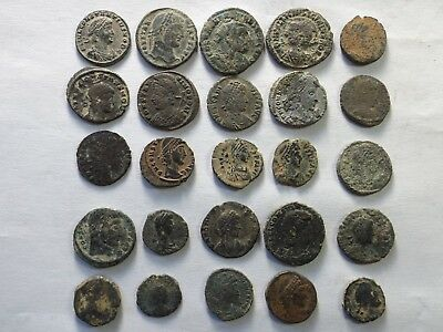 Lot of 25 Uncleaned Ancient Late Roman Coins - Some Desert Patina; 46.3 Grams!