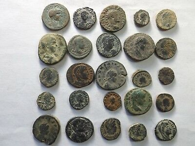 Lot of 25 Uncleaned Ancient Late Roman Coins - Some Desert Patina; 69.6 Grams!