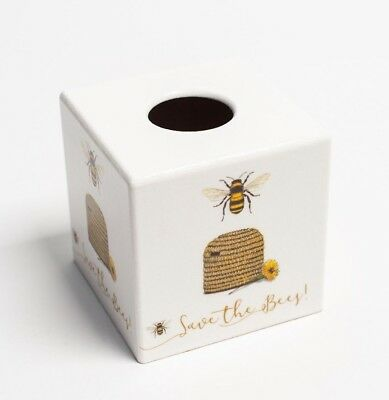 Bee Hive Tissue Box Cover wooden decoupaged by hand
