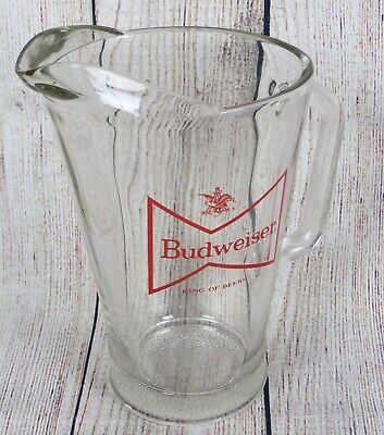 Vintage Budweiser Beer Heavy Glass Pitcher 52oz Anheuser-Busch King of Beers