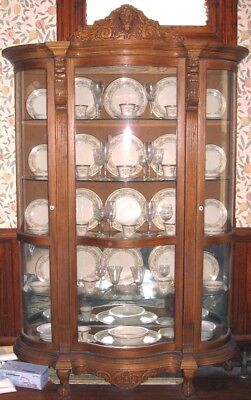 Victorian Style China Cabinet Curio Ski Furniture Golden Oak Carving